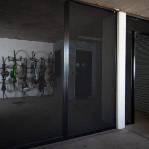 Bike storage behind crimsafe security screens in garage
