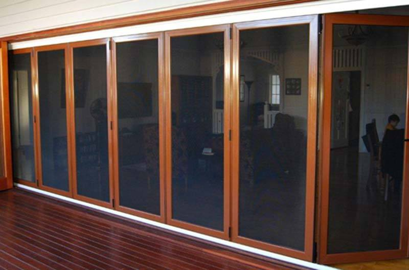 Bi fold systems davcon security windows brisbane for Bifold door screens